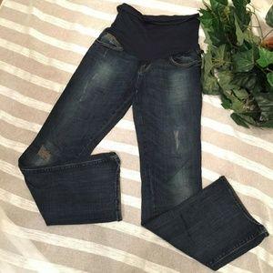 Mavi Maternity XS Distressed Bootcut Jeans